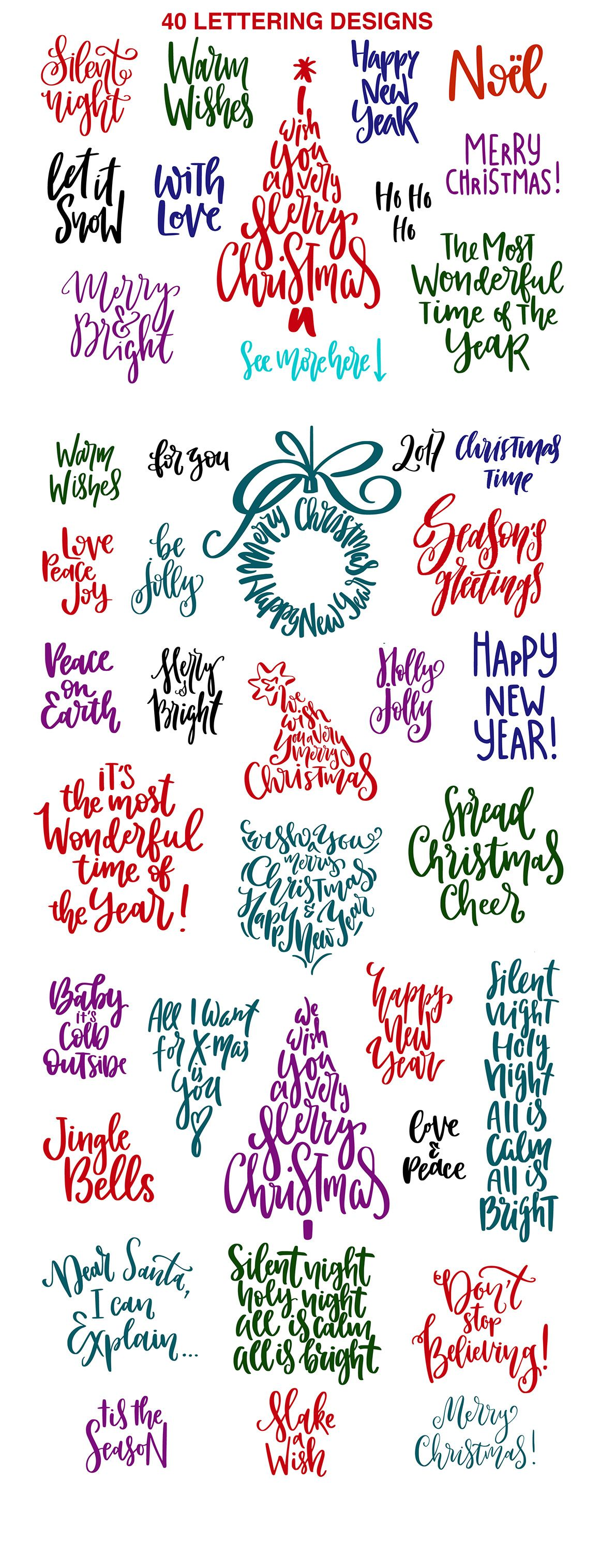 christmas lettering quotes clipart by picbykate on creativemarket f r laura scrapbook. Black Bedroom Furniture Sets. Home Design Ideas