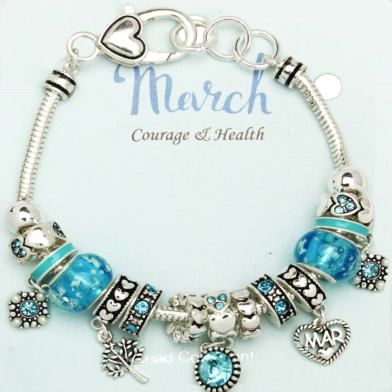 70fa06f86 Aquamarine March Birthstone Charm Bracelet Murano Beads, Pandora Style  Inspired