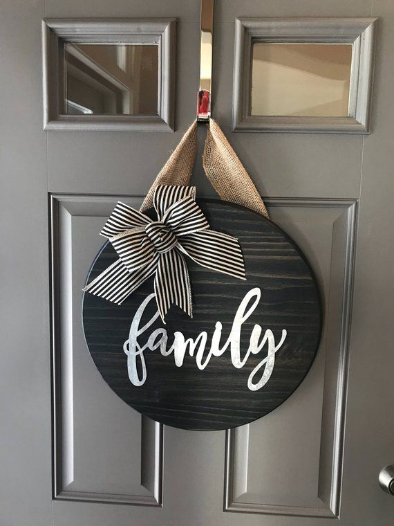 Family Door Sign Family Door Hanger Round Door Sign