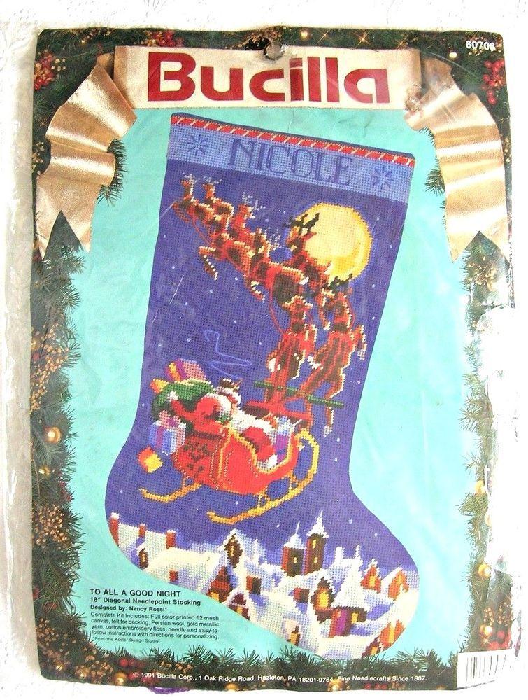 Bucilla Needlepoint Christmas Stocking Kit TO ALL A GOOD