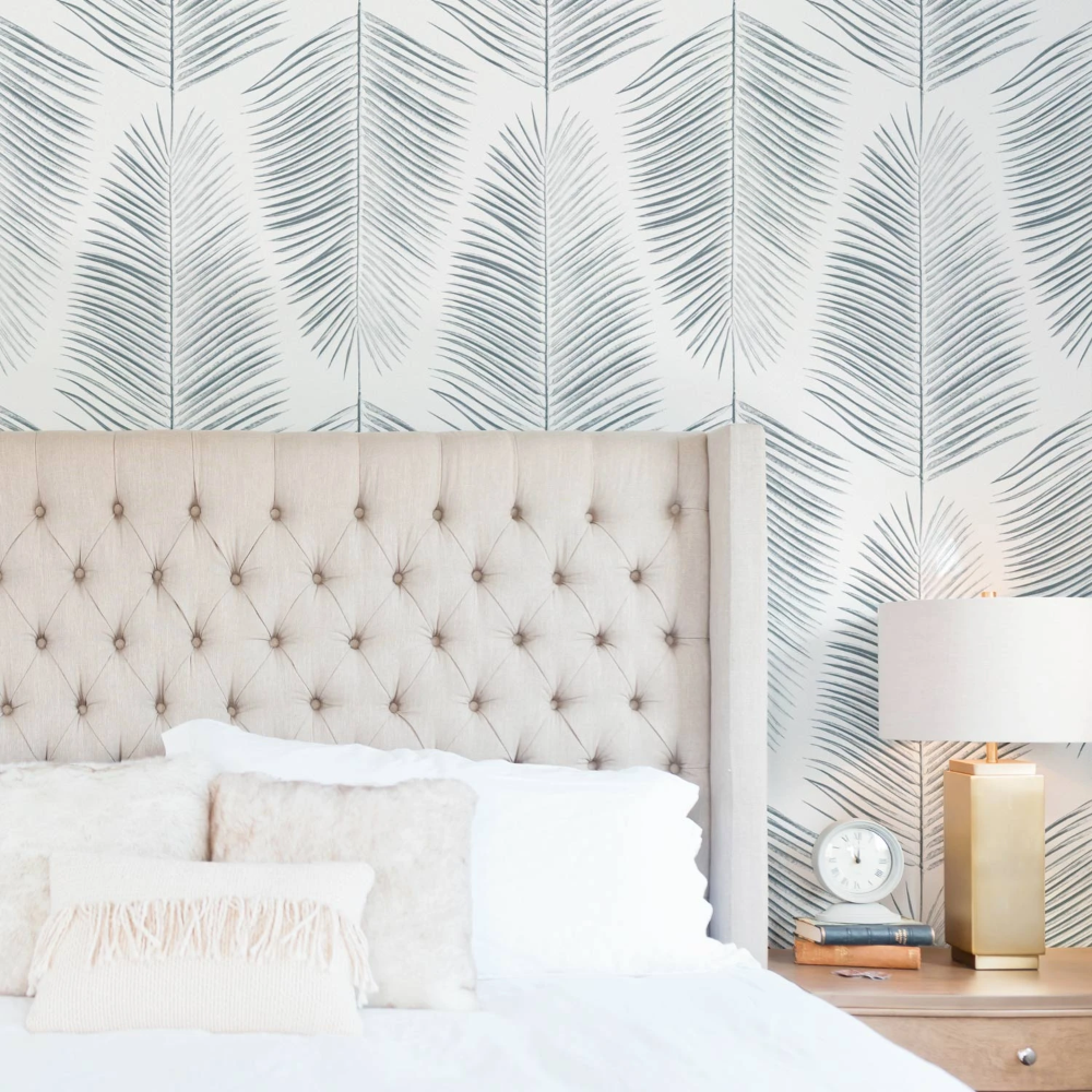 Blue Palm Leaves Design Removable Wallpaper In 2020 Coastal Wallpaper Removable Wallpaper Traditional Wallpaper