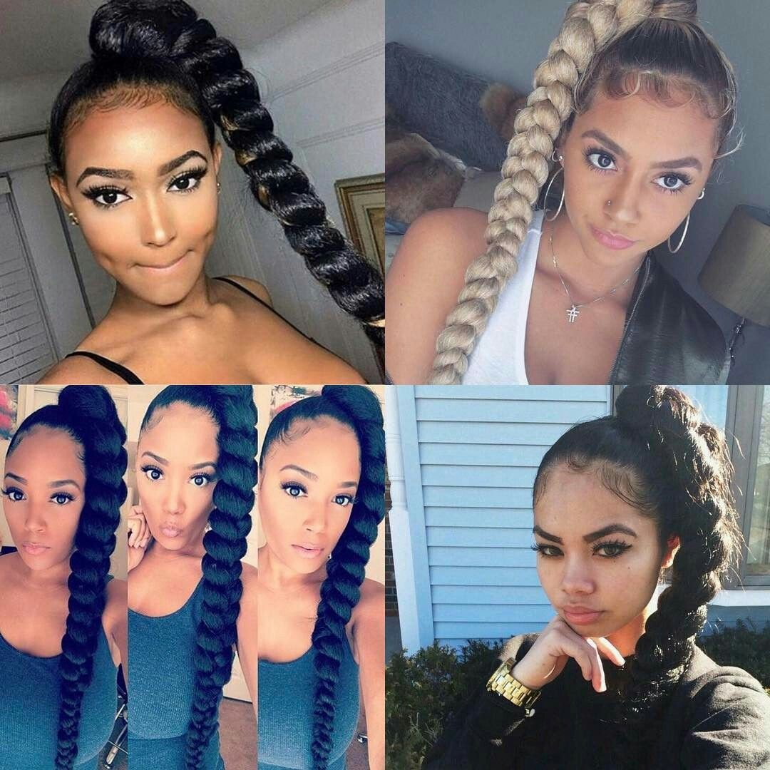 High Braided Ponytail with Weave