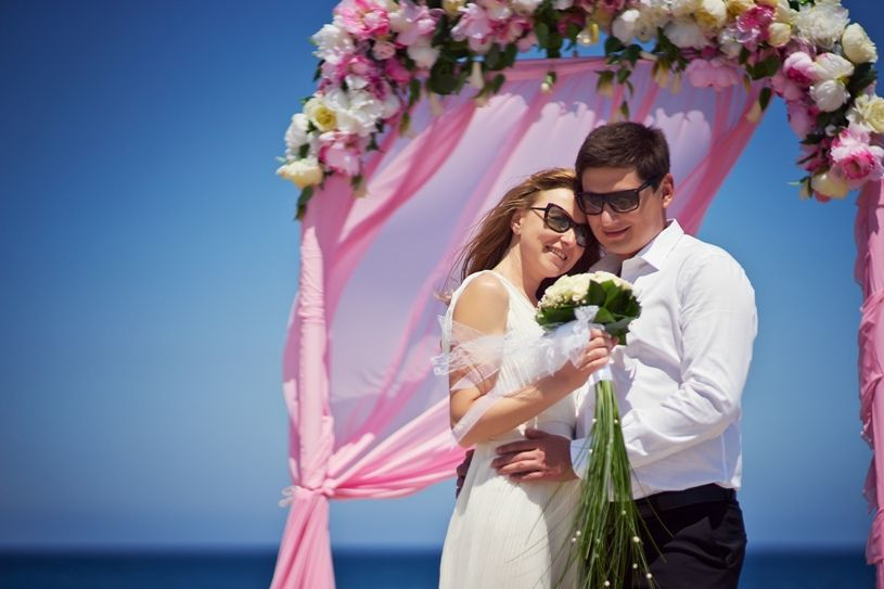 Classic wedding arch pink and white colours your wedding in wedding in cyprus pink arch junglespirit Gallery