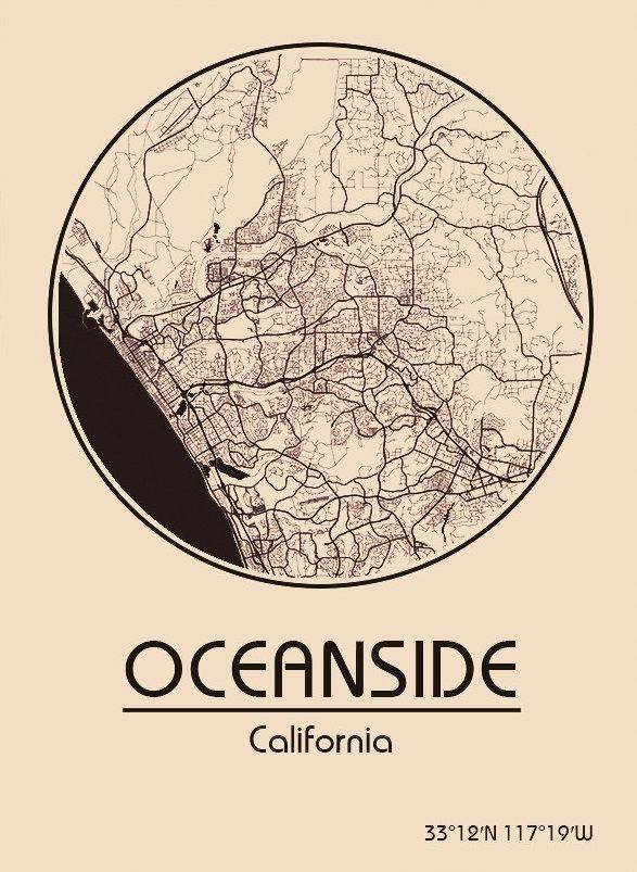 Karte / Map ~ Oceanside, Kalifornien / California - Vereinigte ...