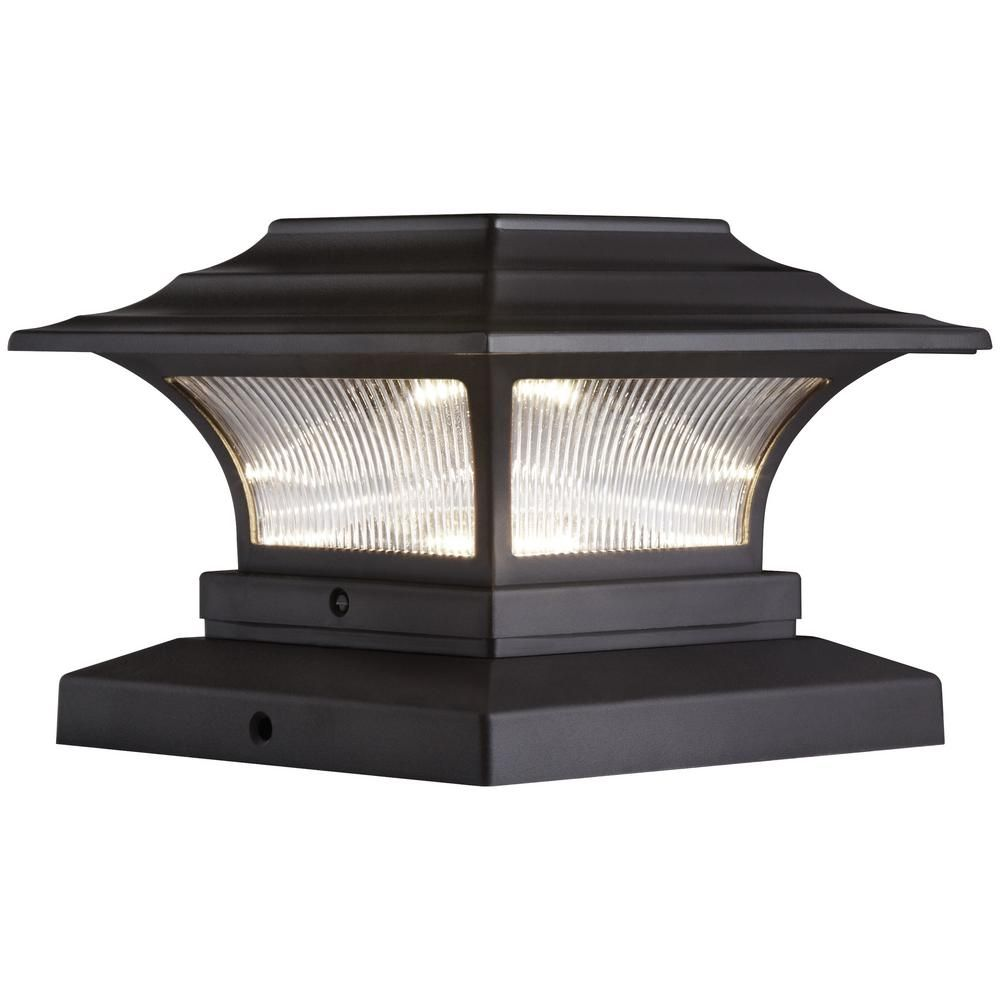 Hampton Bay Solar 4 In X 4 In Bronze Outdoor Integrated Led Deck Post Light With 6 In X 6 In Adapter 2 Pack Deck Post Lights Post Lights Solar Deck Lights