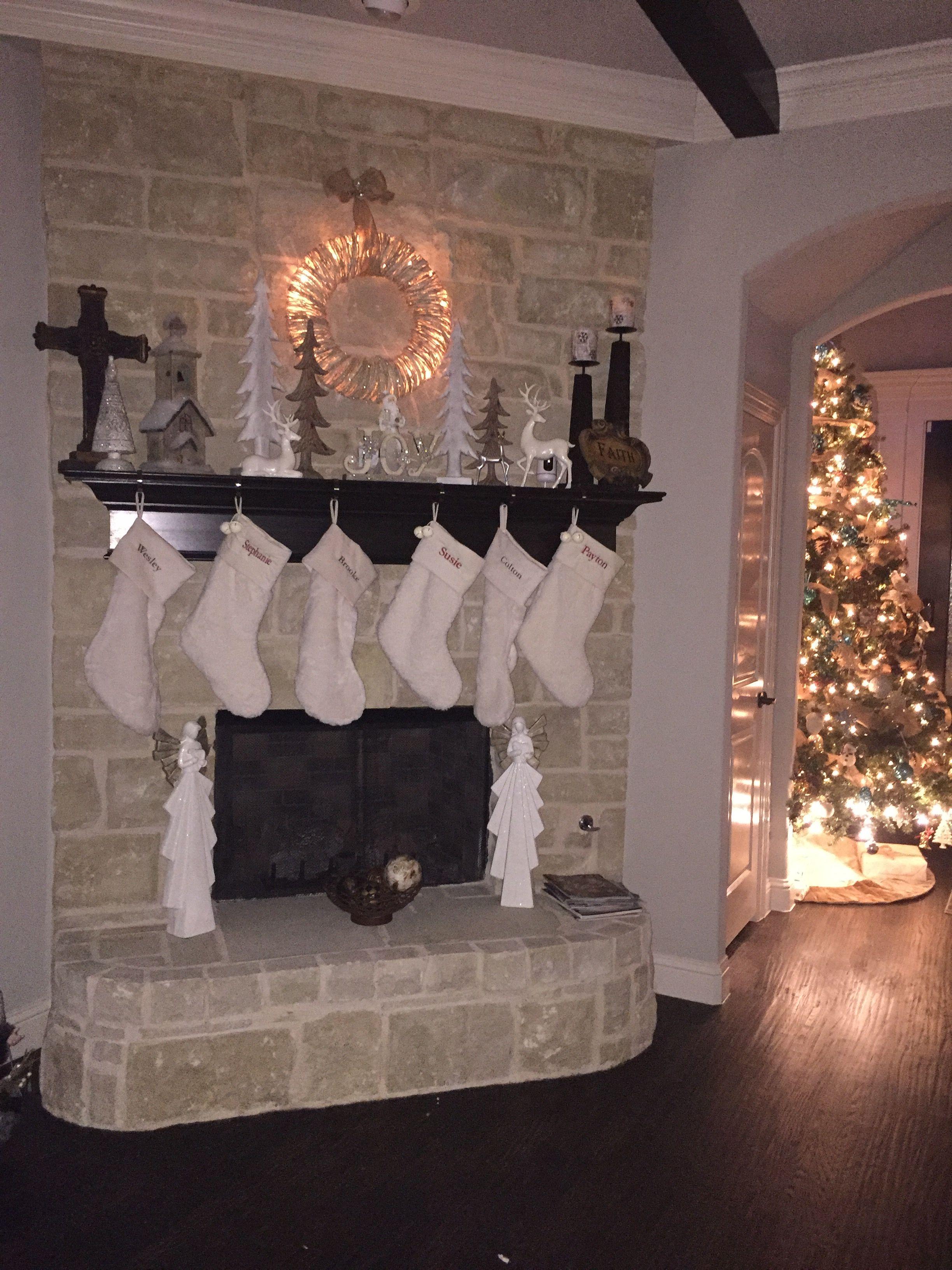 Christmas mantle white, (cream) Pottery Barn Stockings