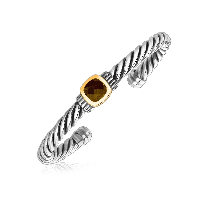 K yellow gold and sterling silver smokey topaz twist style cuff
