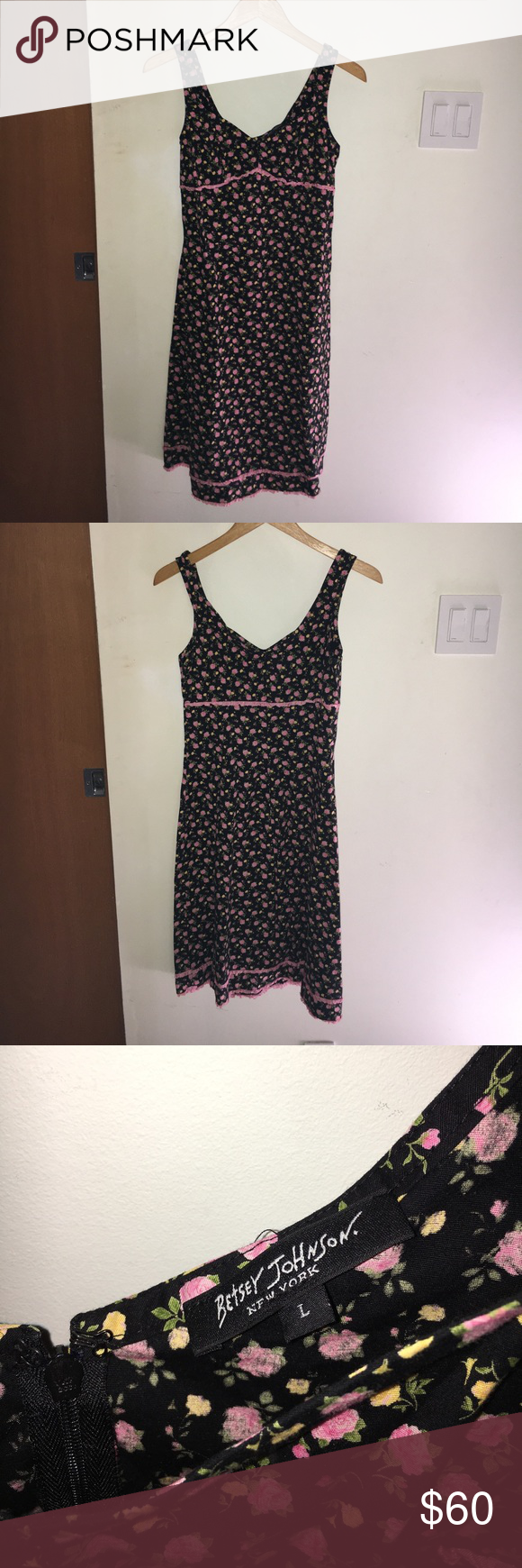 Very cute betsey johnson dress betsey johnson pink roses and pink
