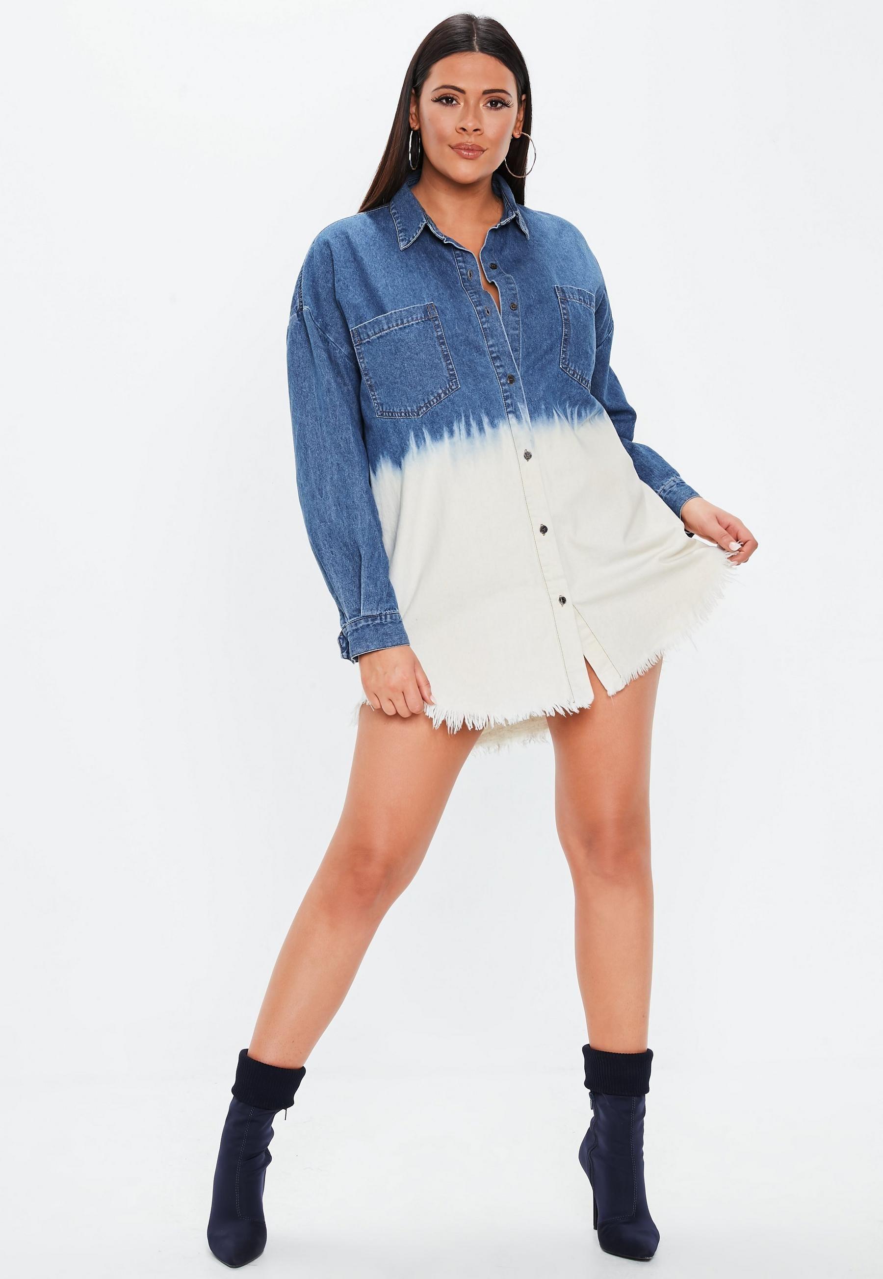 Plus Size Blue Jean Shirt Dress