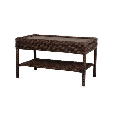 Hampton Bay Cambridge Brown Rectangular Wicker Outdoor Patio Coffee Table With Faux Wood Table Top 65 17148b5 Resin Wicker Patio Furniture Patio Table Outdoor Coffee Tables