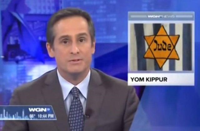 A Chicago TV station used the image of a yellow star which the Nazis forced Jews to wear, when reporting on Judaism's holiest day and then apologized for the