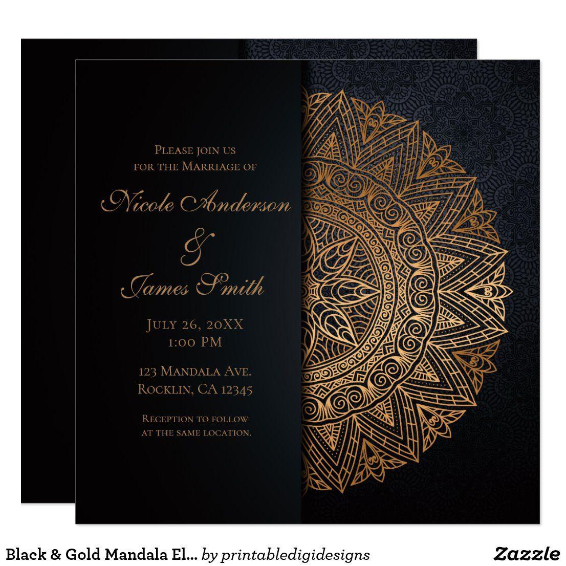 Black Gold Mandala Elegant Wedding Marriage Invitation Zazzle