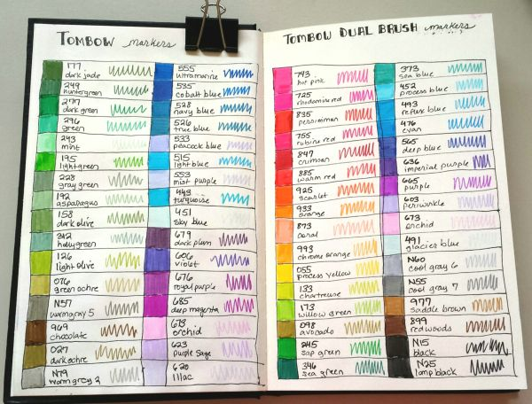 Tombow Color Chart In Stillman And Birn Gamma Sketchbook