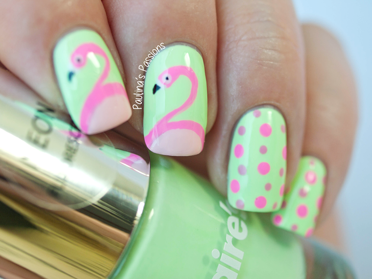Flamingo Nails Inspired by Simply Rins - Bright flamingo nails over ...