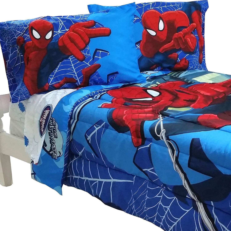5pc Marvel Comics Spiderman Full Bedding Set Spidey Astonish Comforter And Sheet Set Full Bedding Sets Spiderman Bed Spiderman Bed Set