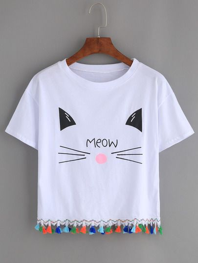 6ea58ea22 Camiseta gato estampado flecos -blanco