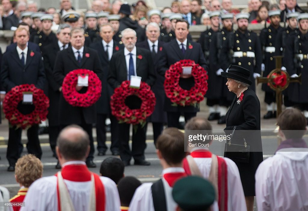 Queen Elizabeth II attends the annual Remembrance Sunday Service at the Cenotaph on Whitehall on November 8, 2015 in London, United Kingdom. People across the UK gather to pay tribute to service personnel who have died in the two World Wars and subsequent conflicts.