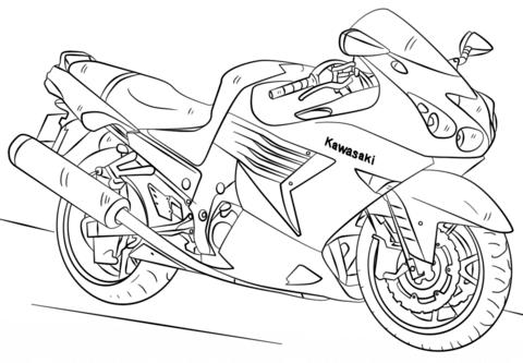 Kawasaki Motorcycle kleurplaat
