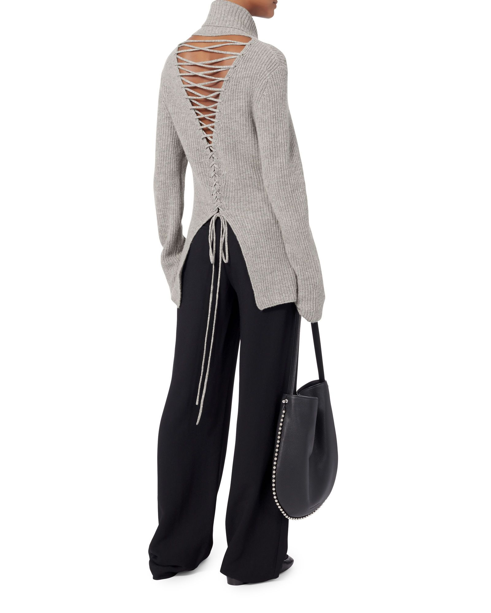 Alexander laceup back sweater grey hires style inspiration