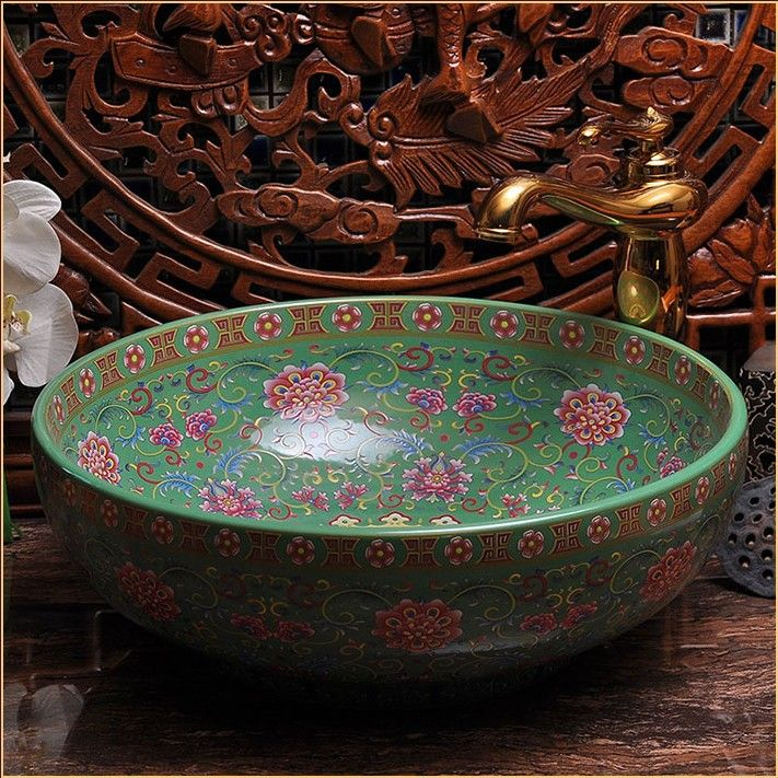 Europe Vintage Style Hand Painting Art Porcelain Green Countertop Basin Sink Handmade Ceramic Bathroom Vessel Sinks