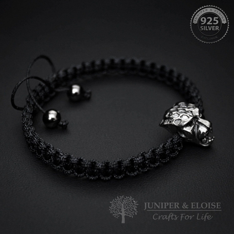 48c74f7b7083a Black Panther Bracelet Mens Bracelet , 925 Silver Panther Charm ...
