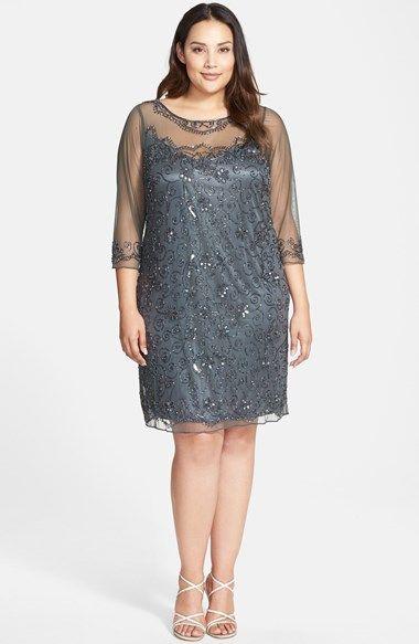 Pisarro Nights Illusion Neck Beaded Shift Dress Plus Size
