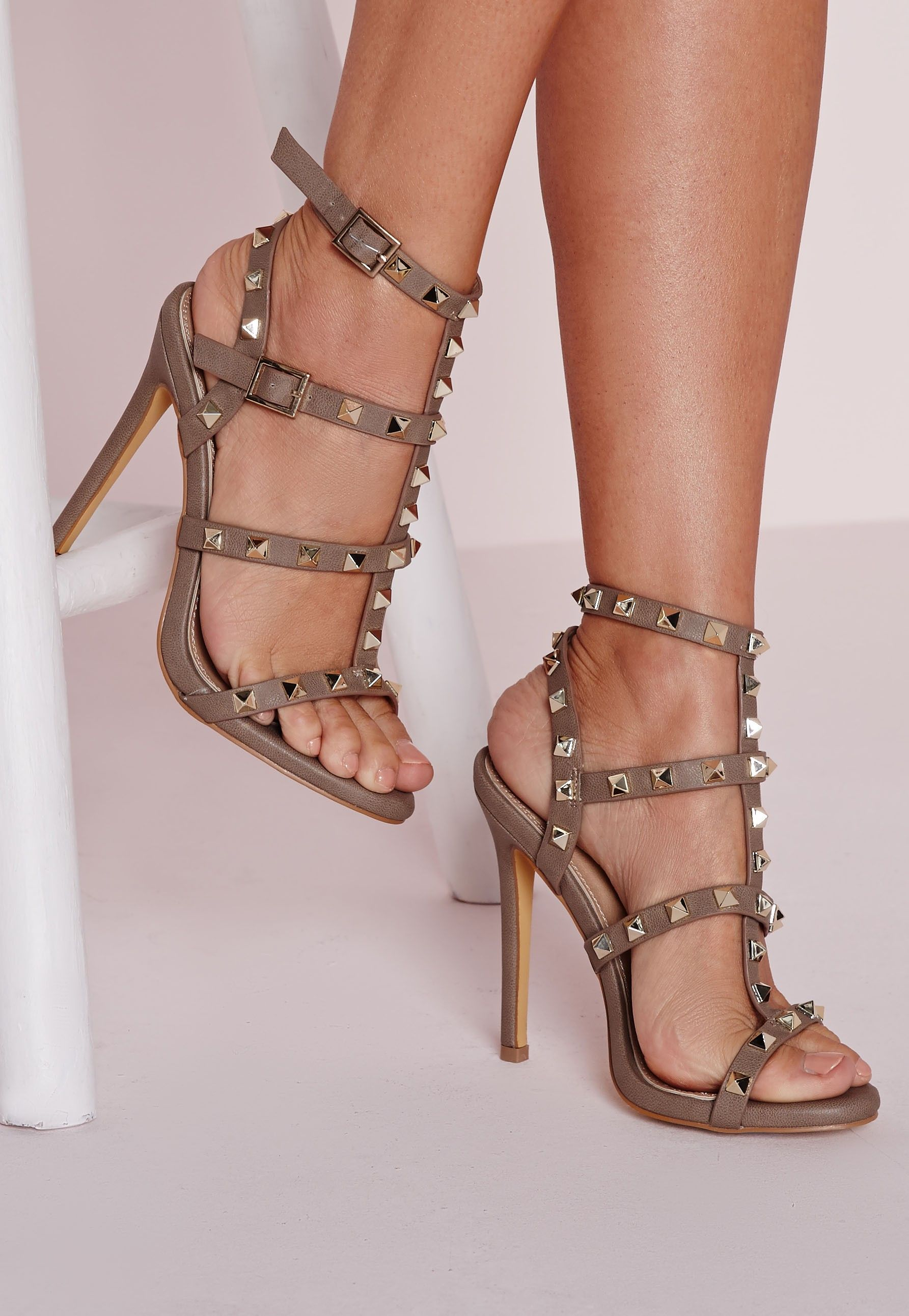 81f78438c08 Missguided - Studded Heeled Gladiator Sandals Taupe
