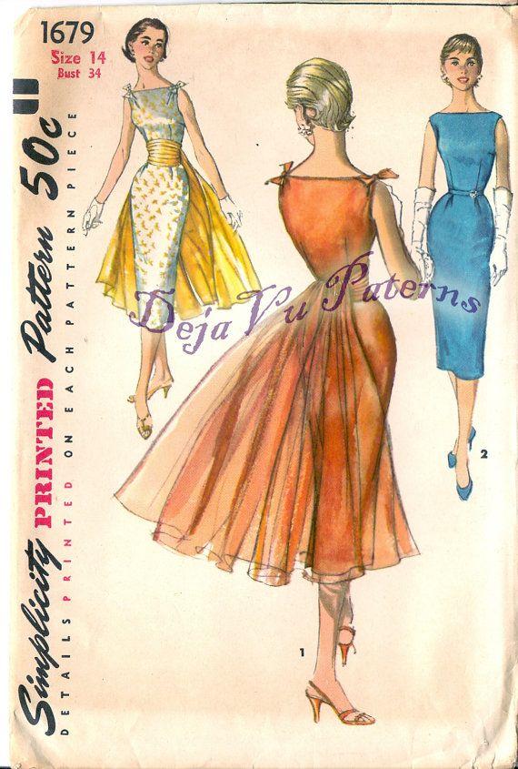 Simplicity 1679 Vintage 1950s Evening Dress Sewing Pattern by DejaVuPatterns