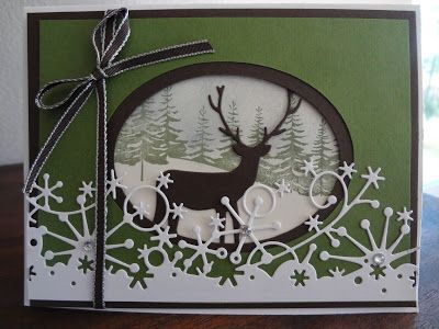 Winter card with Memory box deer and frostyville snow border... (Paper, Scissors, Ink.)
