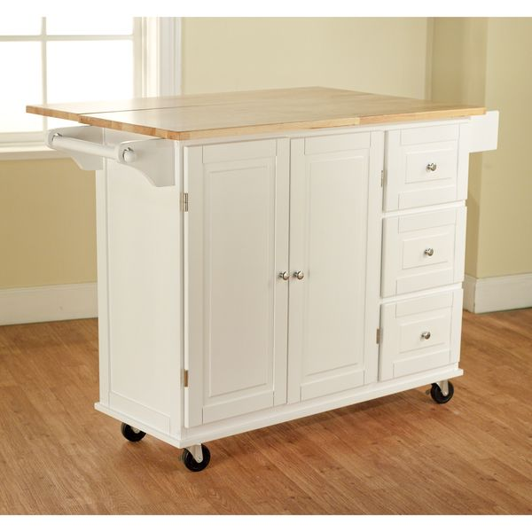 House Simple Living Aspen 3 Drawer E Rack Drop Leaf Kitchen Cart