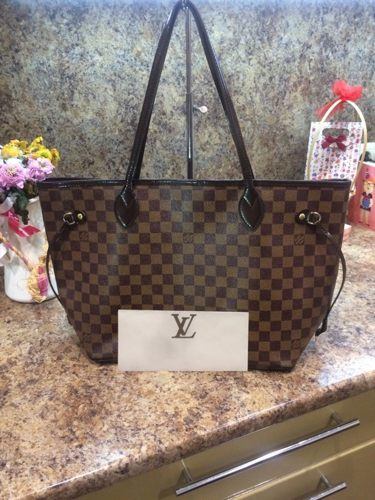 Authentic Louis Vuitton Neverfull MM Damier Ebene Canvas Handbag With  Receipt  fashion  clothing  shoes  accessories  womensbagshandbags ... 4a6ca46b63a03