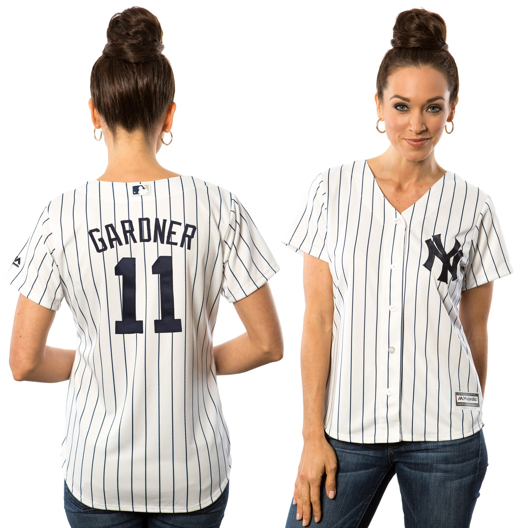 68210392c MLB Brett Gardner New York Yankees Majestic Women's Cool Base Player Jersey  - White