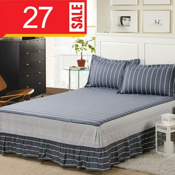 gray stripes bed skirt queen king size bedding 100 cotton fitted bedspread bed sheet
