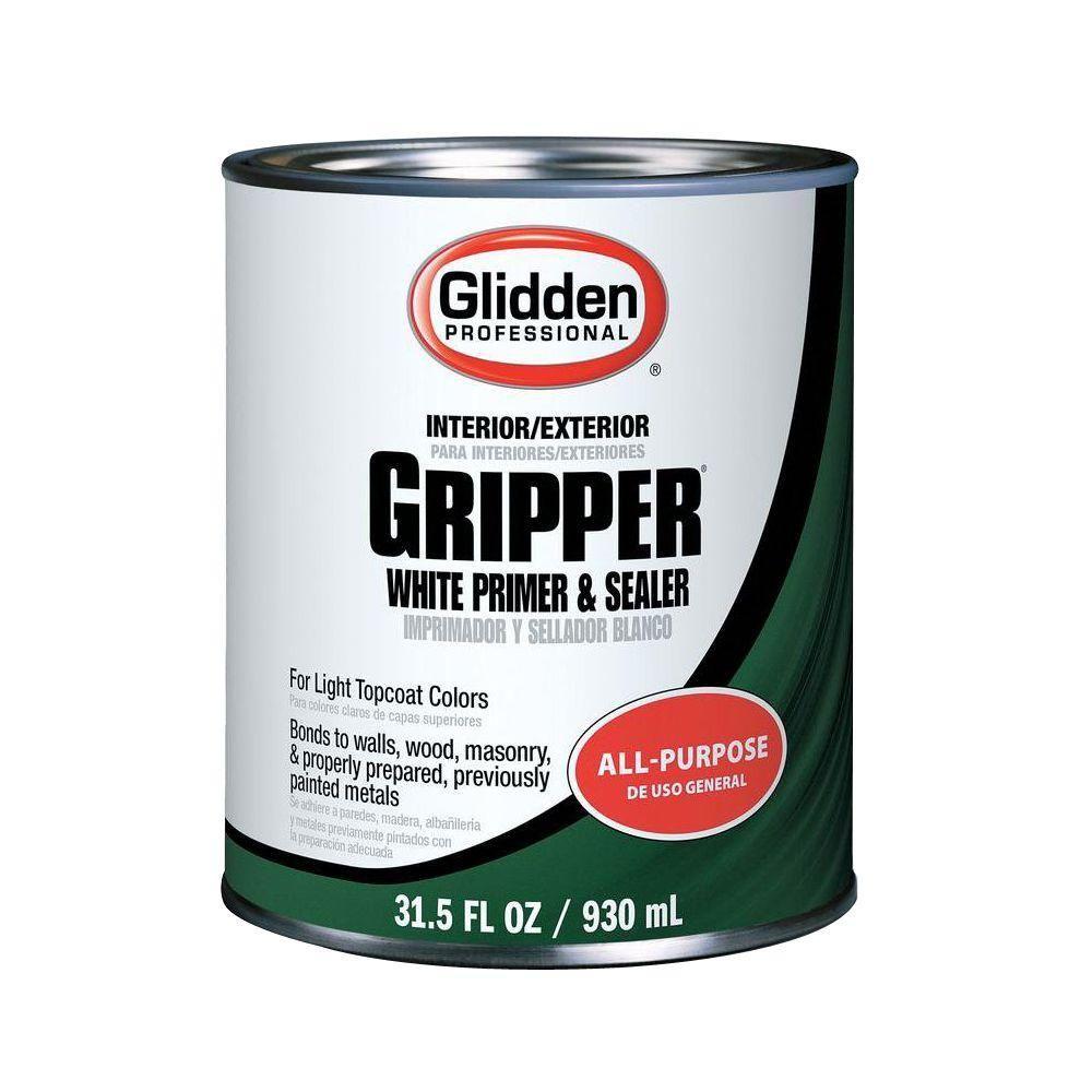 Glidden Professional 1 Qt Gripper White Primer Sealer Gpg 0000 04 The Home Depot Primer Sealer Exterior Primer Gripper Primer