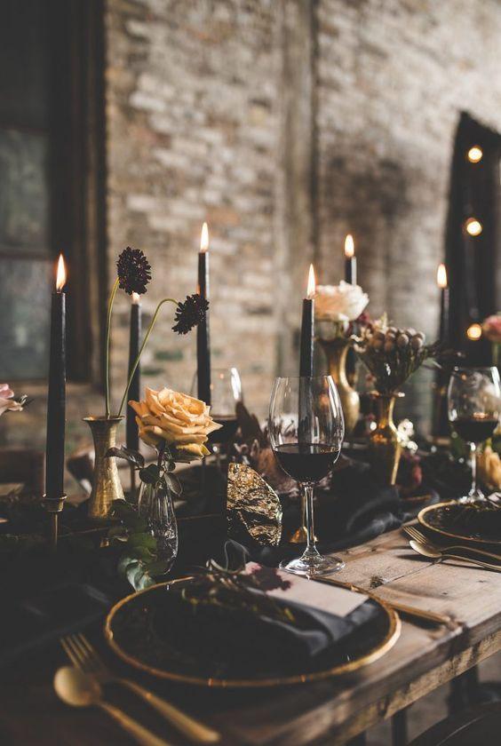 Christmas wedding centerpiece/ gothic wedding ideas/dark color tone Christmas we…