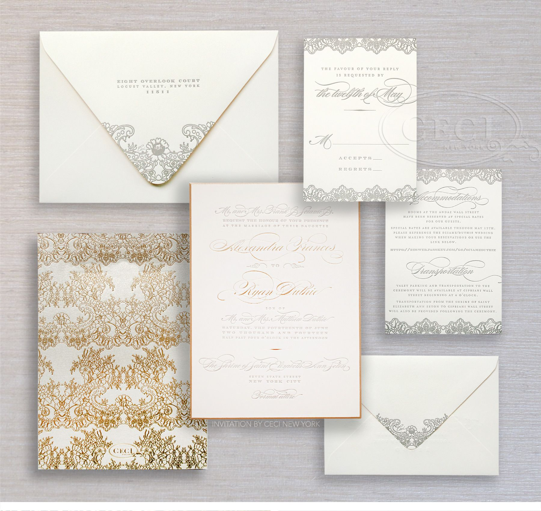 Gold and silver wedding invitation suite by Ceci New York.   MIS ...