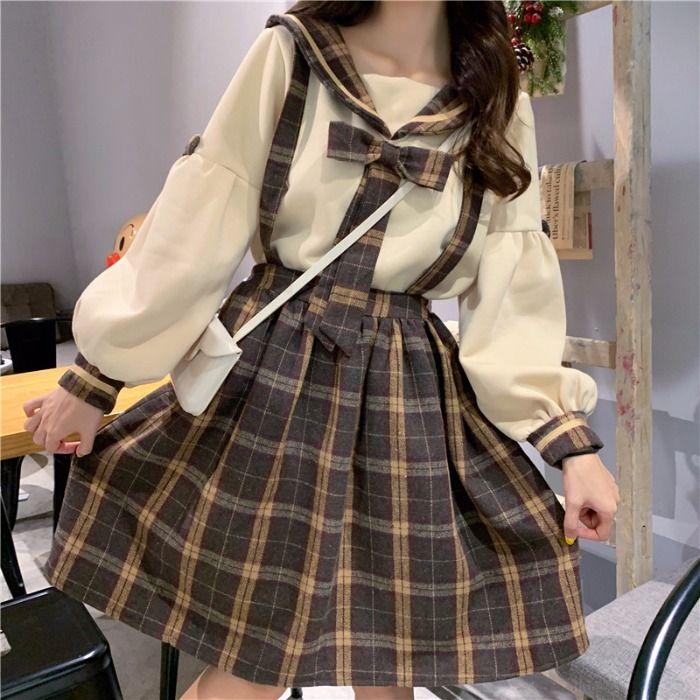 Autumn Girl Cute Cream Bow Doll Collar Sweater Ret