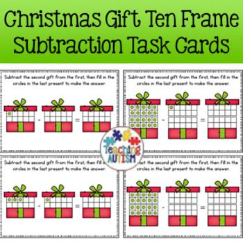 Christmas Subtraction Task Cards   Ten frames, Students and Maths