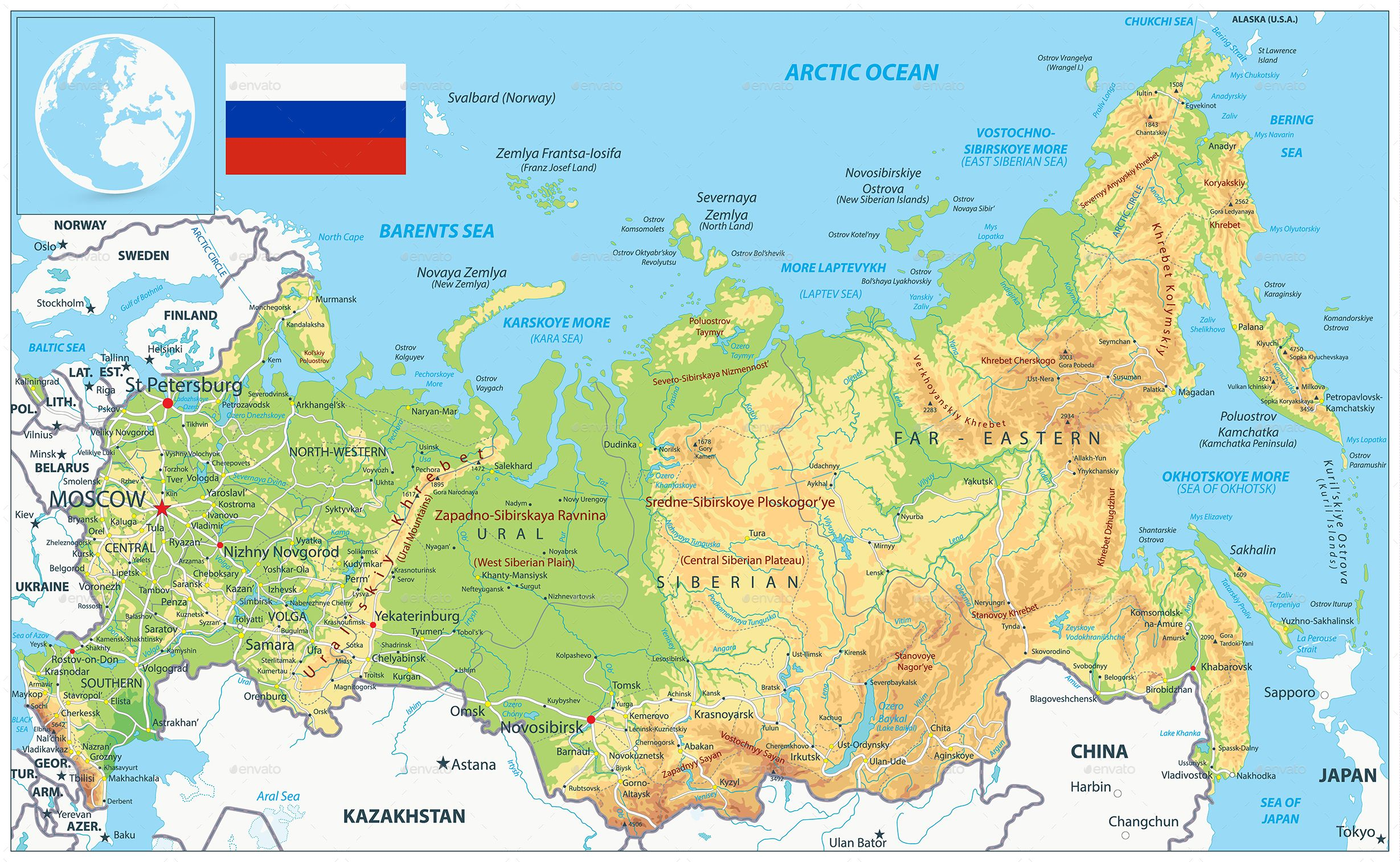 Russia Physical Map #Ad #Russia, #AD, #Physical, #Map ...