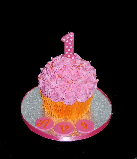 Pumpkin Smash Cake: Pink And Orange Jumbo Cupcake Smash Cake