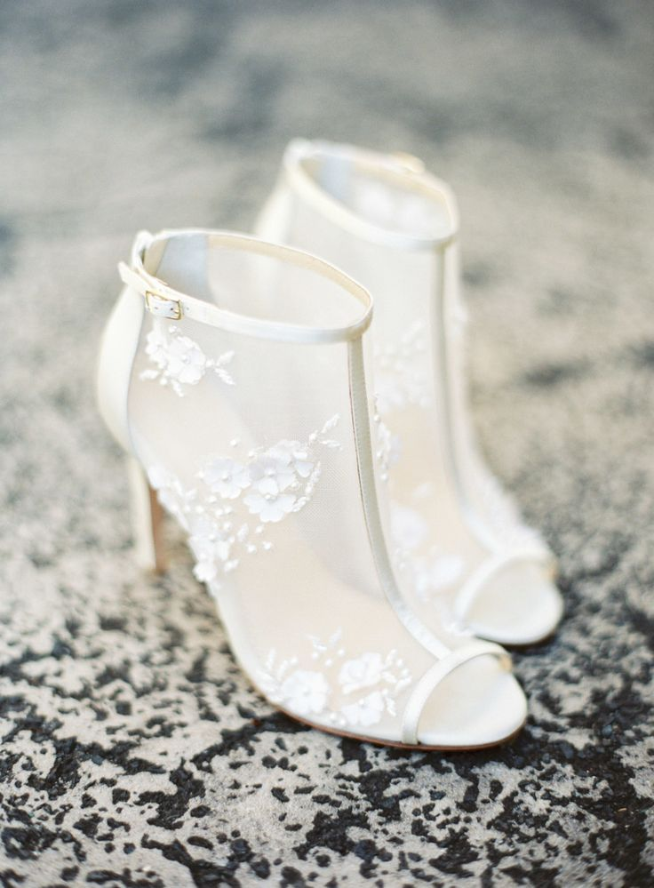 Flower Chiffon Wedding Booties Wedding Shoes Accessories