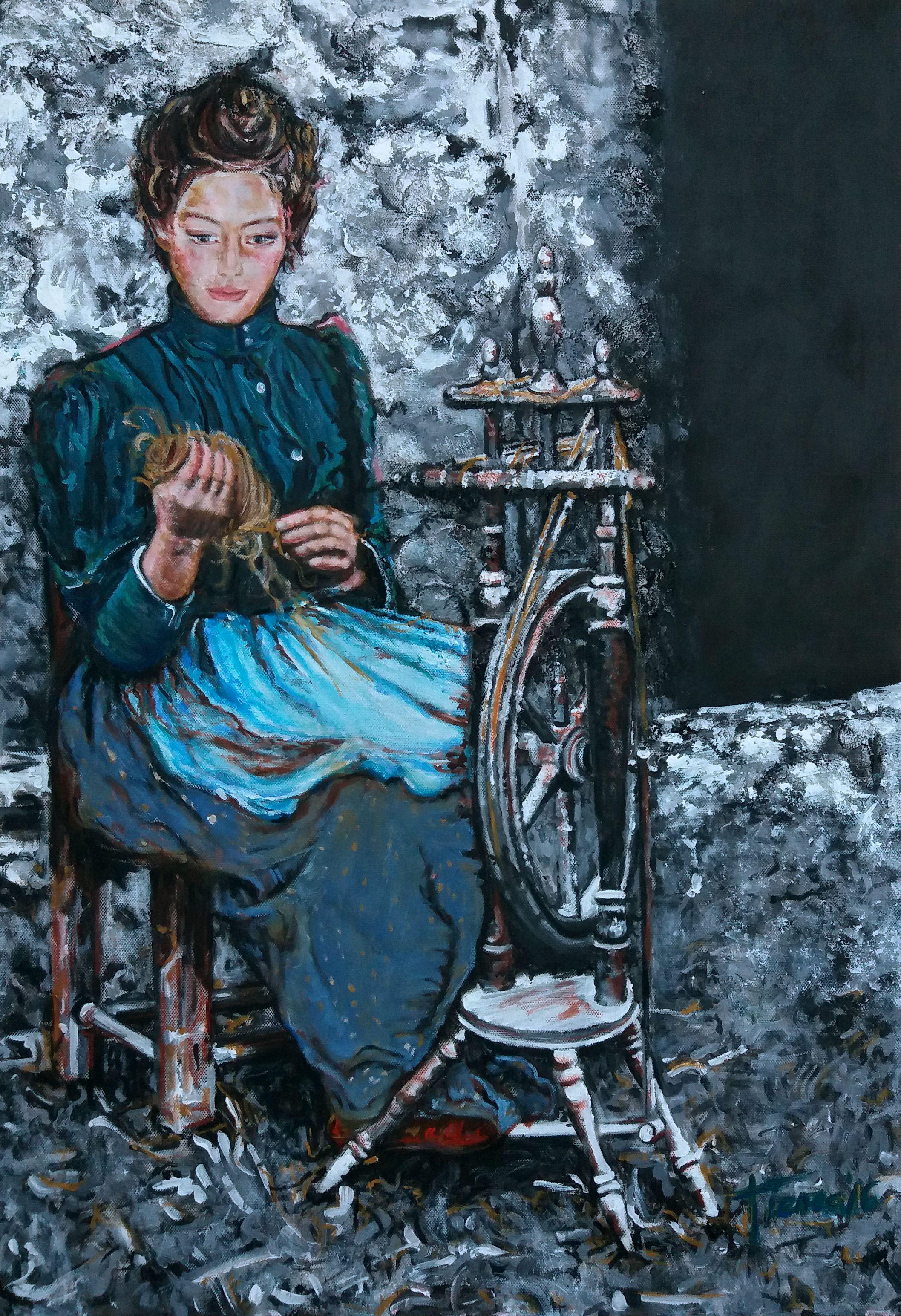 La Hilandera, obra realizda con su pareja en blanco y negro y solamente la mujer es la que da color al cuadro. Perteneciente a la seria La España Antigua. Acrílico y varias texturas sobre lienzo.
