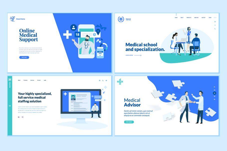 Set Of Medical Web Page Designs Template Design Page Design