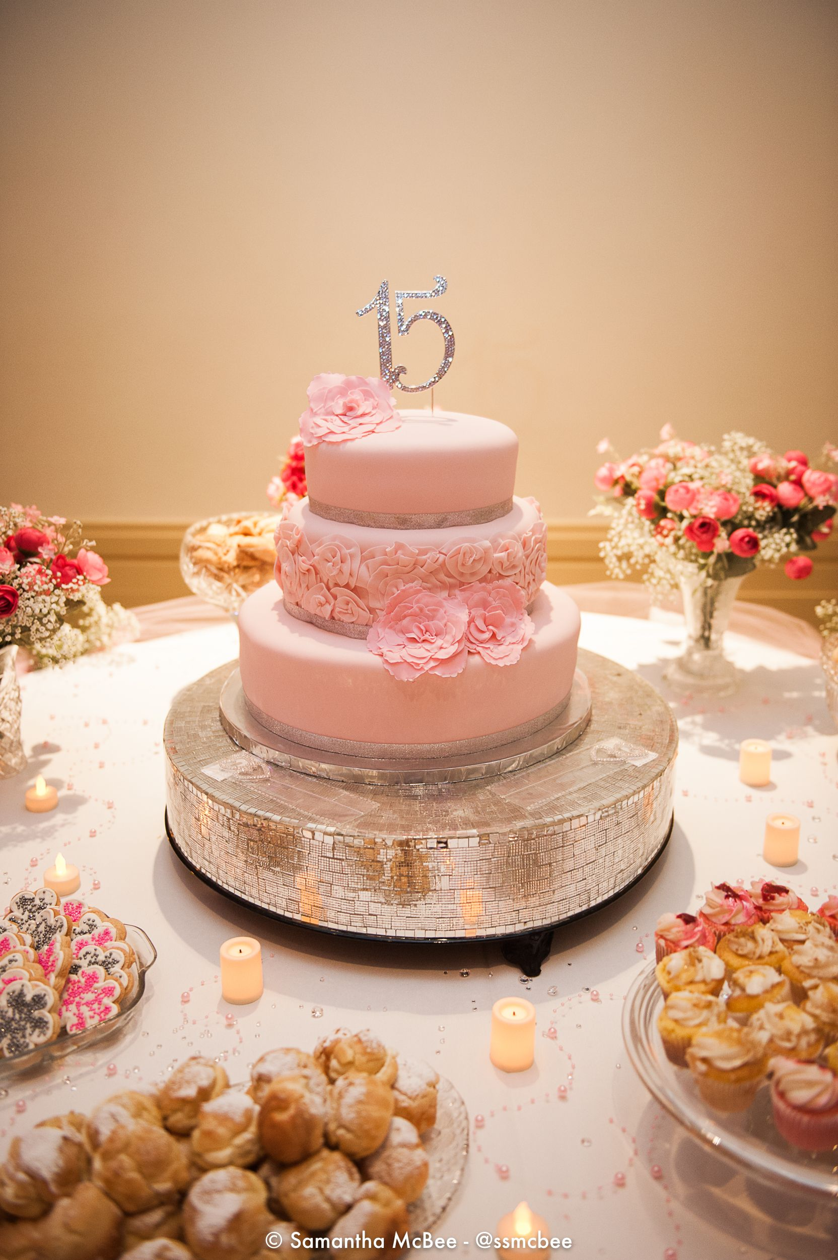Quinceañera Pink, silver Cake in 2019