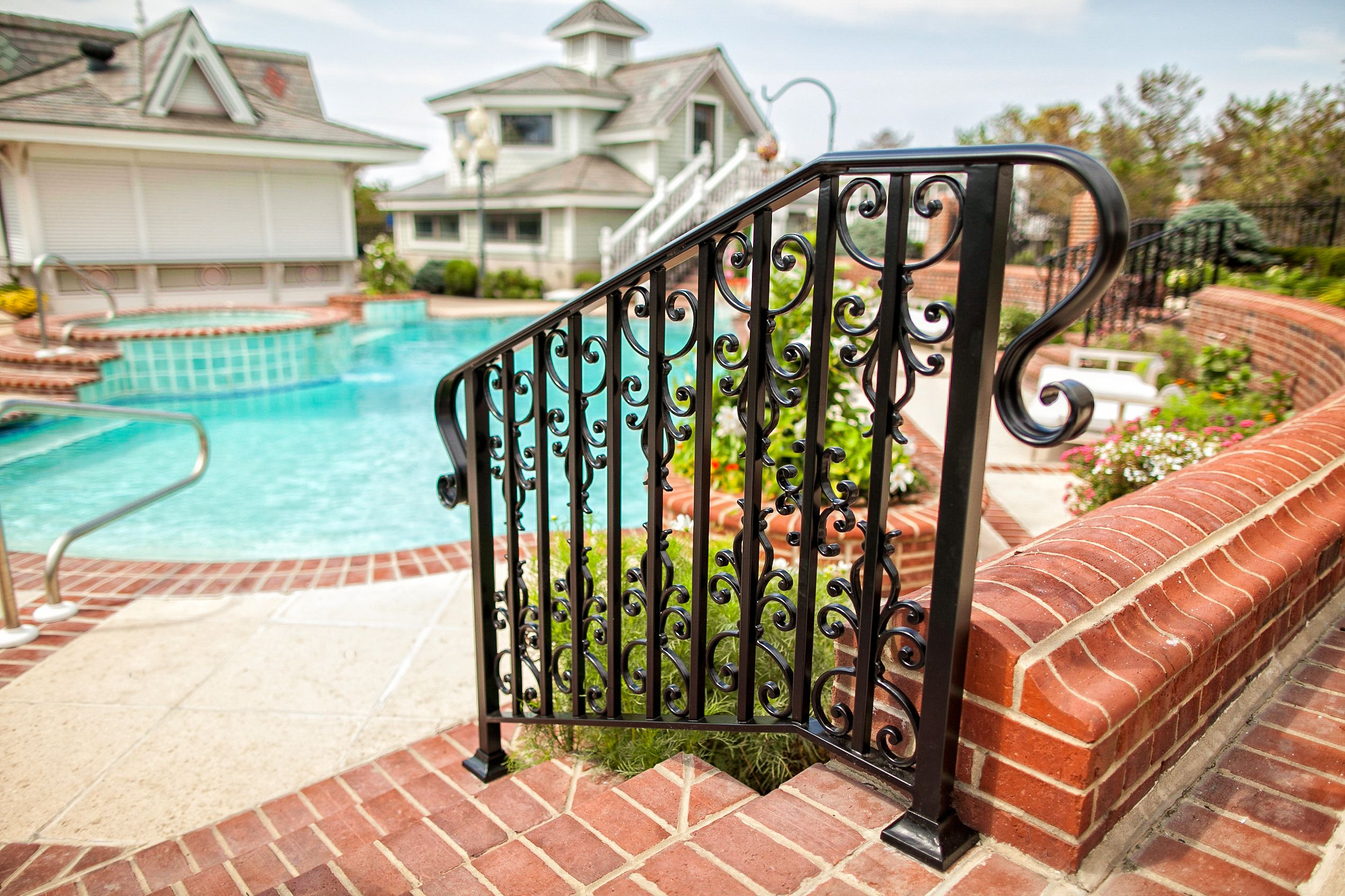 Step Railing For A Pool Area 100 Recycled Solid Aluminum That