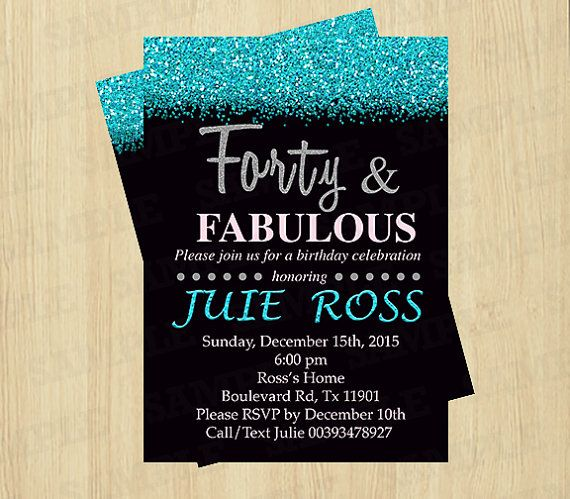40th birthday invitation women Forty and Fabulous by PartyInstant