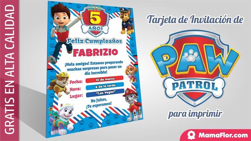Paw Patrol Patrulla Canina Tarjeta Invitacion Cumpleaños
