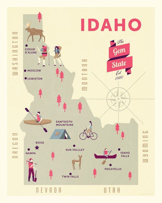 Idaho Map, The gem state map, original illustrated map ...