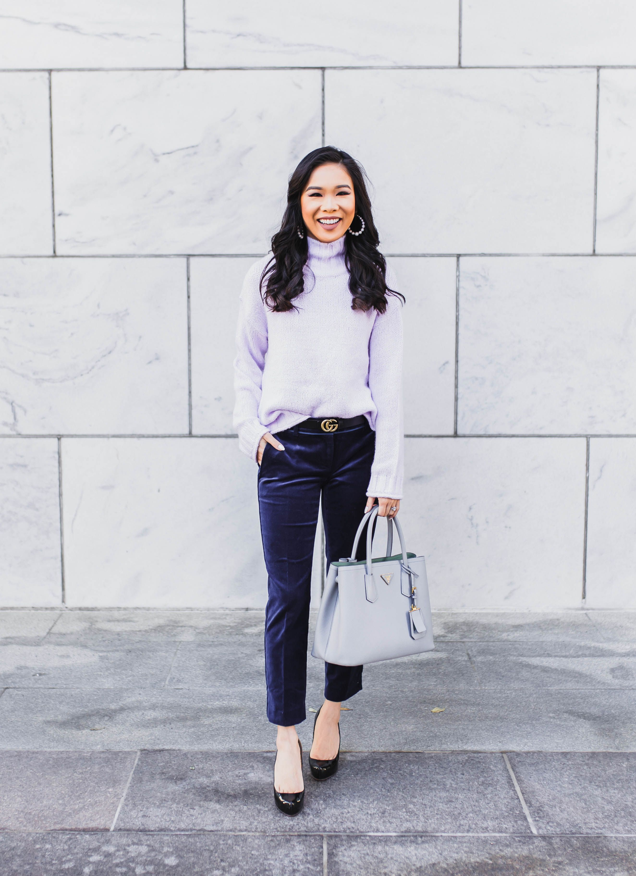 824768e92df61 Winter workwear with a lavender sweater and navy velvet pants ...