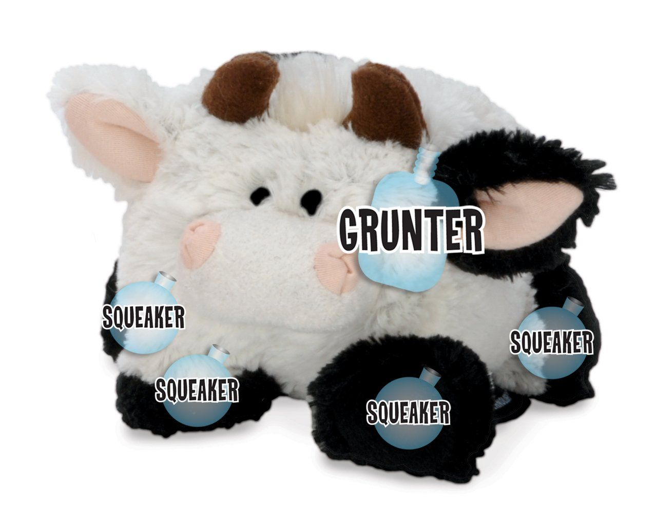 Godog Puppy Tough Ball Cow Dog Toy With Chew Guard Technology